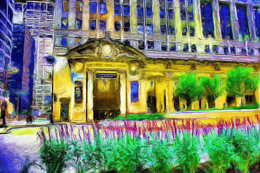 Lyric Opera House Of Chicago Painting  - Lyric Opera House Of Chicago Fine Art Print
