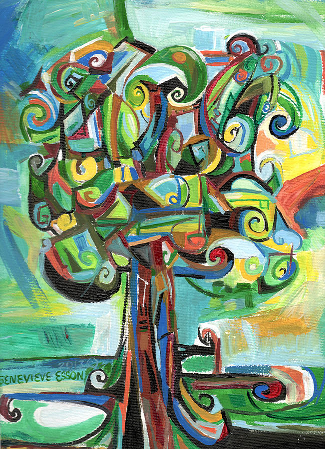 Tree Painting - Lyrical Tree by Genevieve Esson