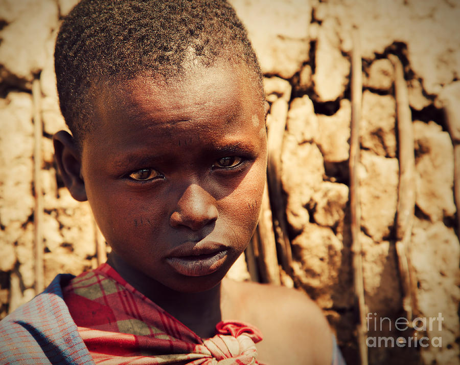 Maasai Child Portrait In Tanzania Photograph