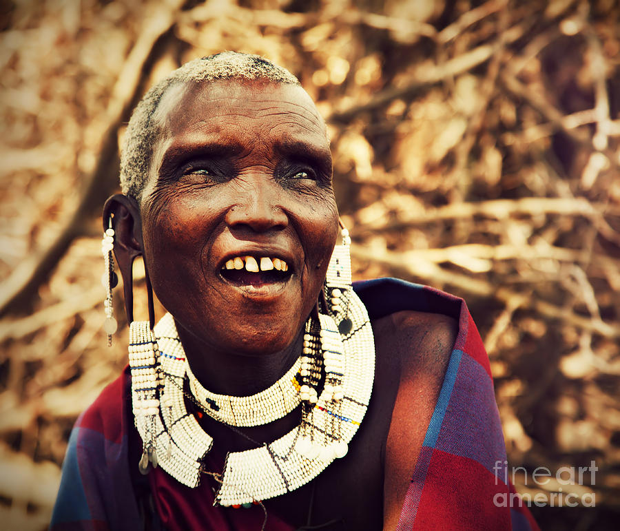 Africa Photograph - Maasai Old Woman Portrait In Tanzania by Michal Bednarek