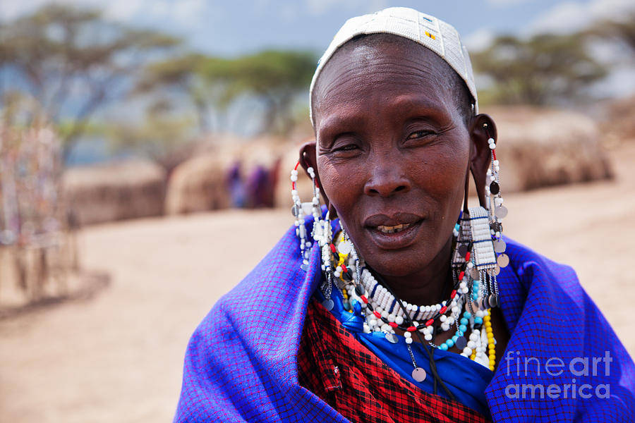 Maasai Woman Portrait In Tanzania Photograph  - Maasai Woman Portrait In Tanzania Fine Art Print