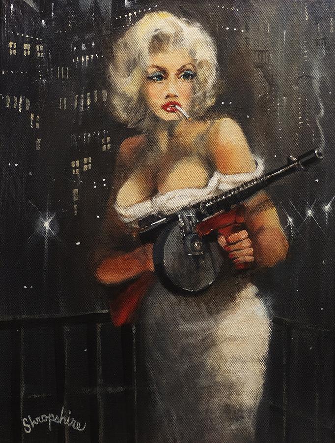 Marilyn Monroe Tommy Gun: Machine Gun Madam Painting By Tom Shropshire