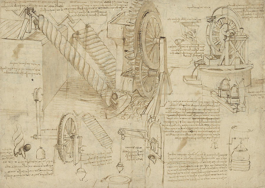 Machines To Lift Water Draw Water From Well And Bring It Into Houses From Atlantic Codex  Drawing  - Machines To Lift Water Draw Water From Well And Bring It Into Houses From Atlantic Codex  Fine Art Print