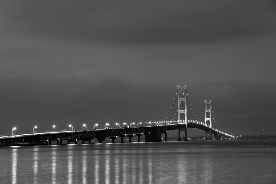 Mackinac Bridge Black And White Photograph