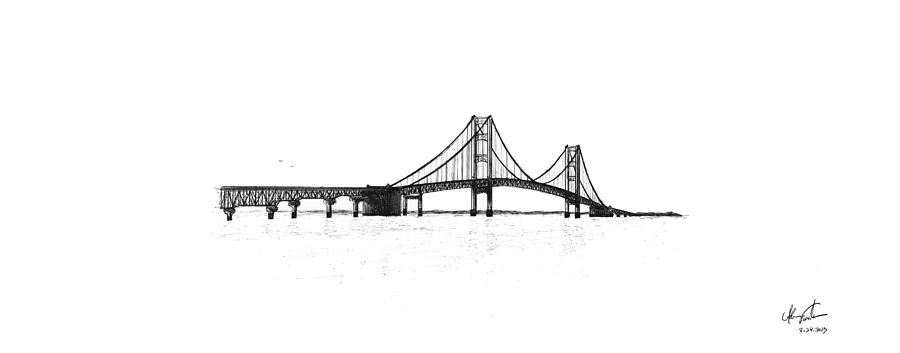 Mackinac Bridge South Shore Drawing