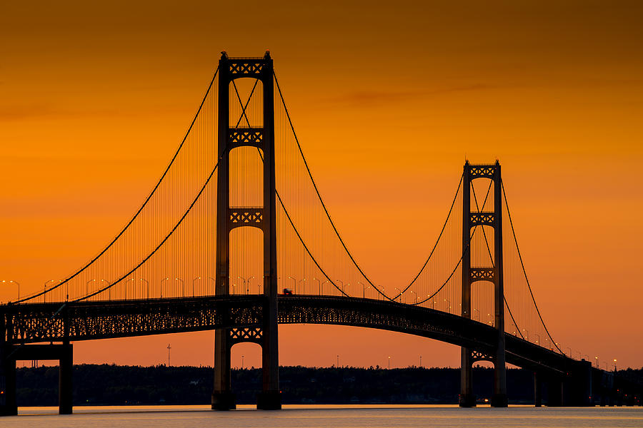 Mackinac Bridge Sunset Photograph By Steve Gadomski
