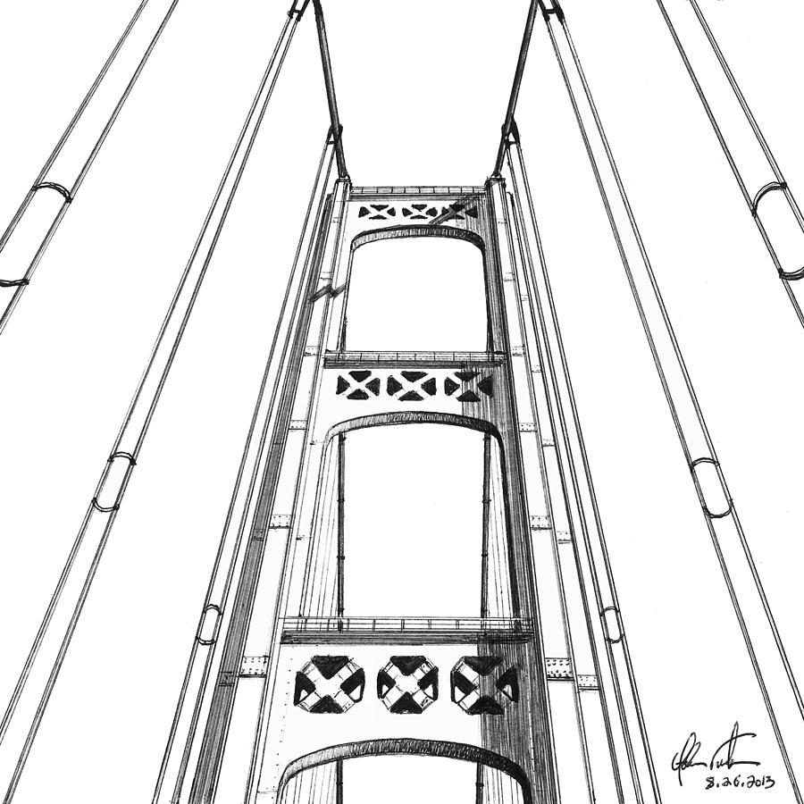 Mackinac Bridge Tower Drawing