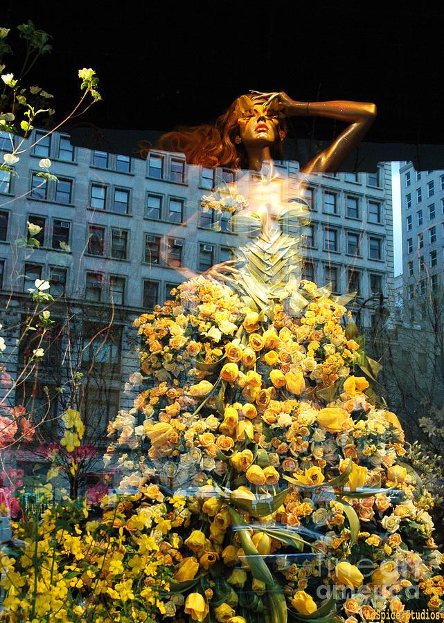 Macys Yellow Rose Woman Digital Art