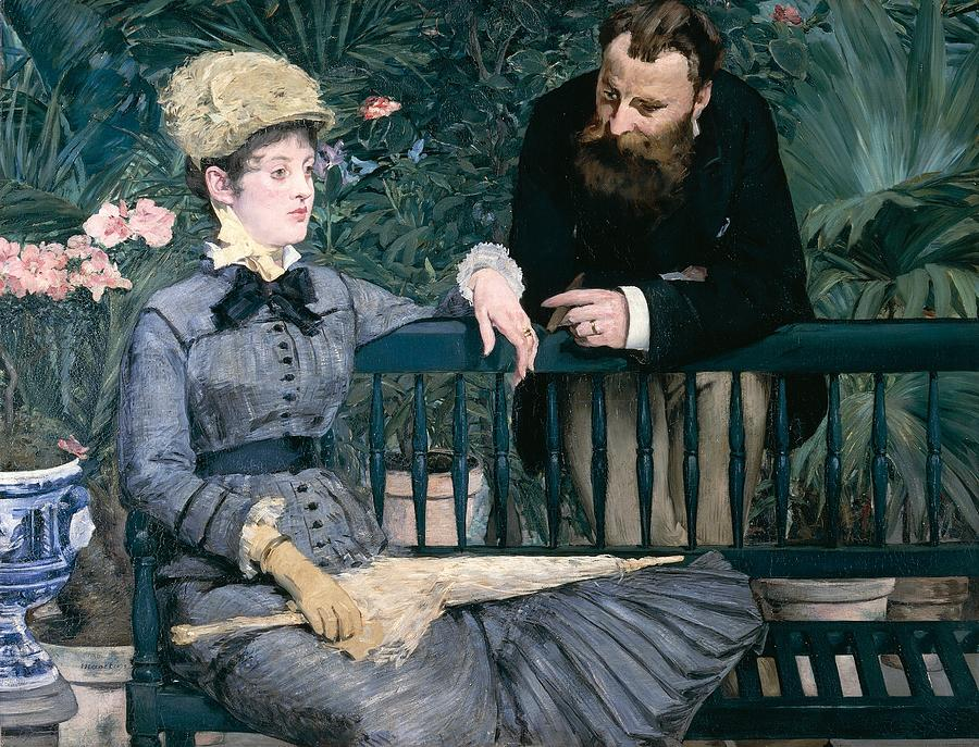 Madame Manet In Greenhouse Painting