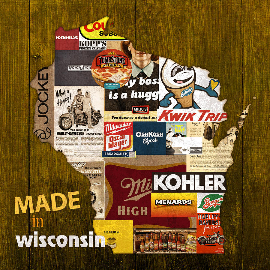 Made In Wisconsin Mixed Media - Made In Wisconsin Products Vintage Map On Wood by Design Turnpike