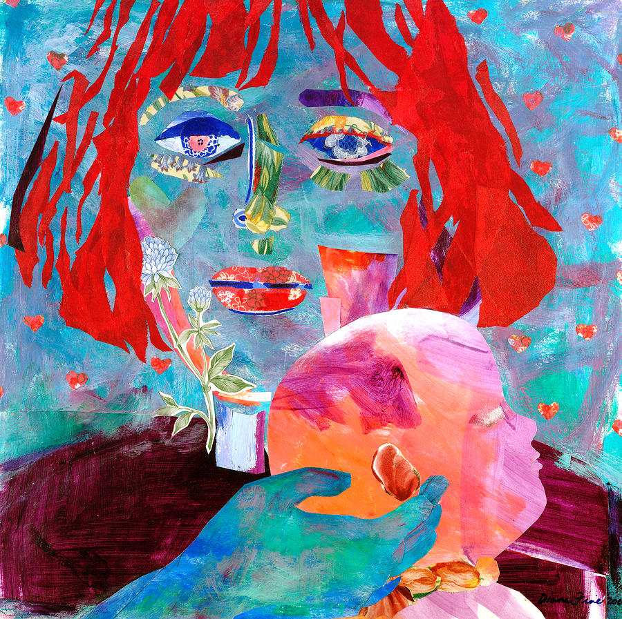 Flowers In The Eyes And Wallpaper Mixed Media - Madonna And Child by Diane Fine