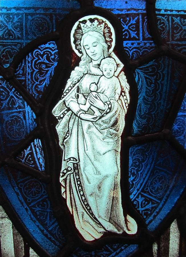 Madonna And Child Glass Art