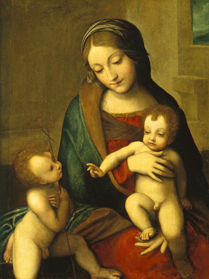 Virgin; Mary; Jesus; Christ; Baptist Painting - Madonna And Child With The Infant Saint John by Antonio Allegri Correggio