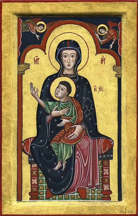 Madonna In Throne With Child. - Madonna In Trono Con Bambino.  Painting