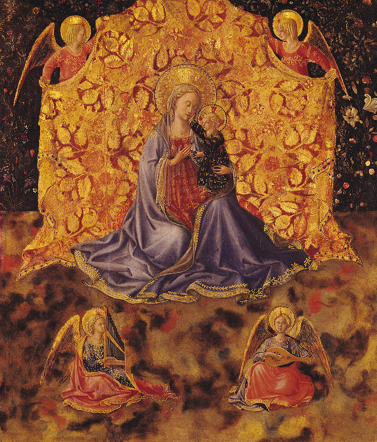 Madonna Of Humility With Christ Child And Angels Painting