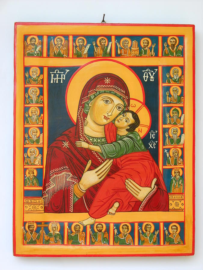 Madonna With Child Jesus Surrounded By Saints Hand Painted Wooden Orthodox Icon Painting  - Madonna With Child Jesus Surrounded By Saints Hand Painted Wooden Orthodox Icon Fine Art Print