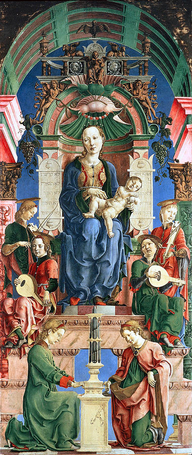 Madonna With The Child Enthroned  Digital Art  - Madonna With The Child Enthroned  Fine Art Print