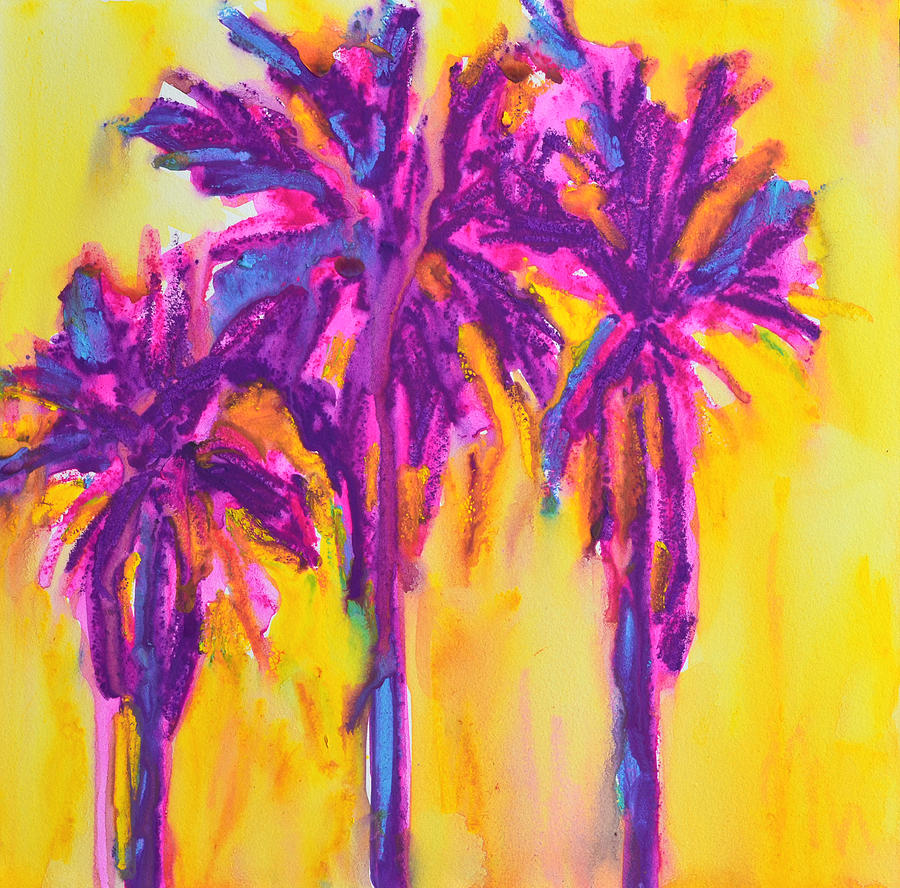 Magenta Palm Trees Painting