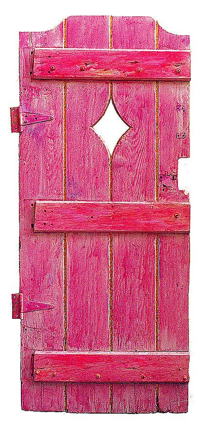 Magenta Pink Painted Garden Door Painting