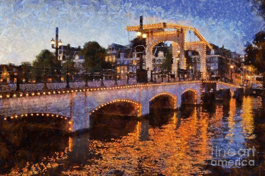 Magere Brug Bridge In Amsterdam Painting