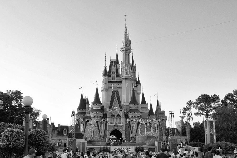 Magic Kingdom Castle In Black And White PhotographDisney Castle Black And White