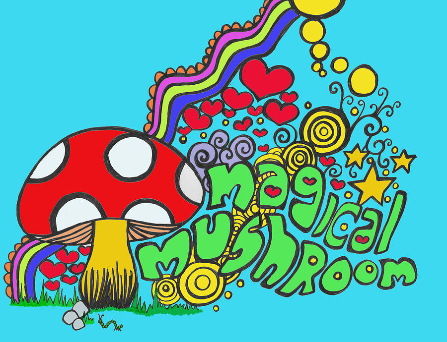 Magical Mushroom Pop Art Painting  - Magical Mushroom Pop Art Fine Art Print