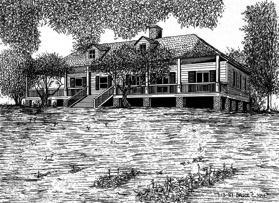 Magnolia Mound Plantation Drawing  - Magnolia Mound Plantation Fine Art Print