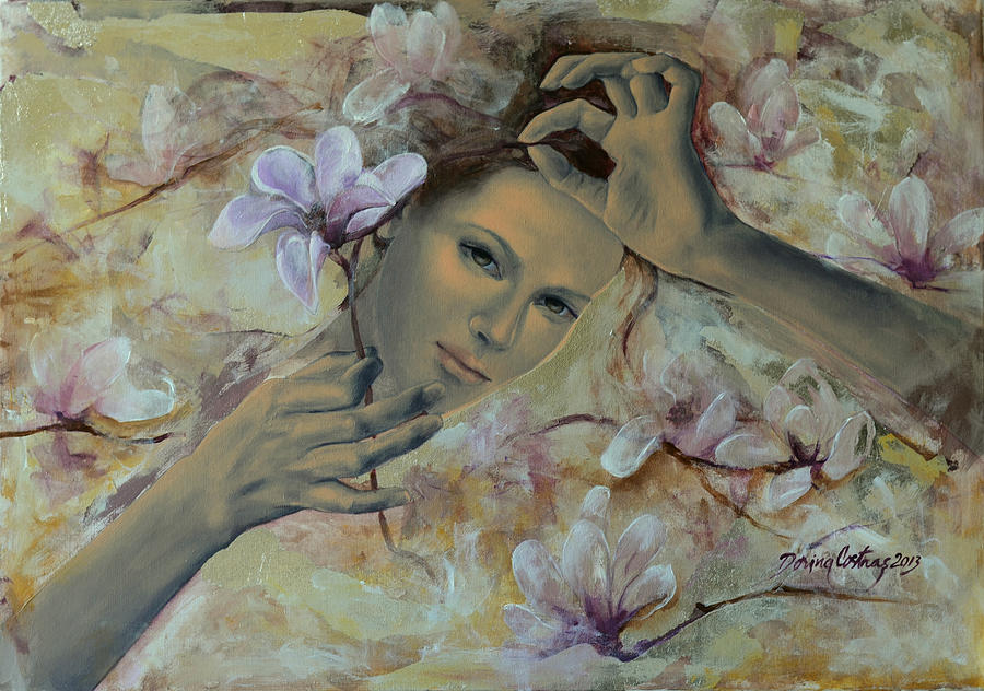 Art Painting - Magnolias by Dorina  Costras