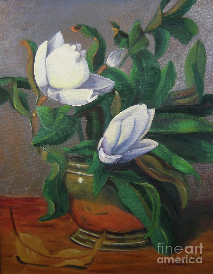 Floral Painting - Magnolias On Brass by Lilibeth Andre