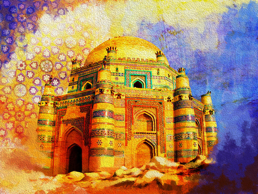 Mai Jwandi Tomb On Makli Hill Painting  - Mai Jwandi Tomb On Makli Hill Fine Art Print
