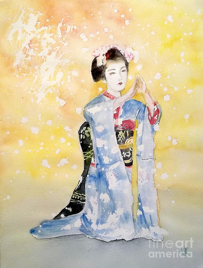Maiko Girl by Yoshiko MishinaAcrylic Paintings Sunset