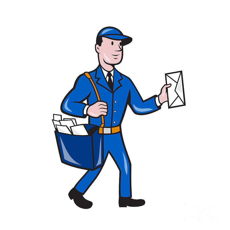 Mailman Postman Delivery Worker Isolated Cartoon By