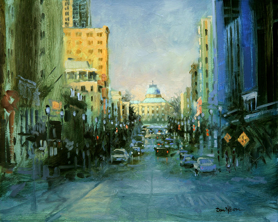Main Street Twilight Painting  - Main Street Twilight Fine Art Print