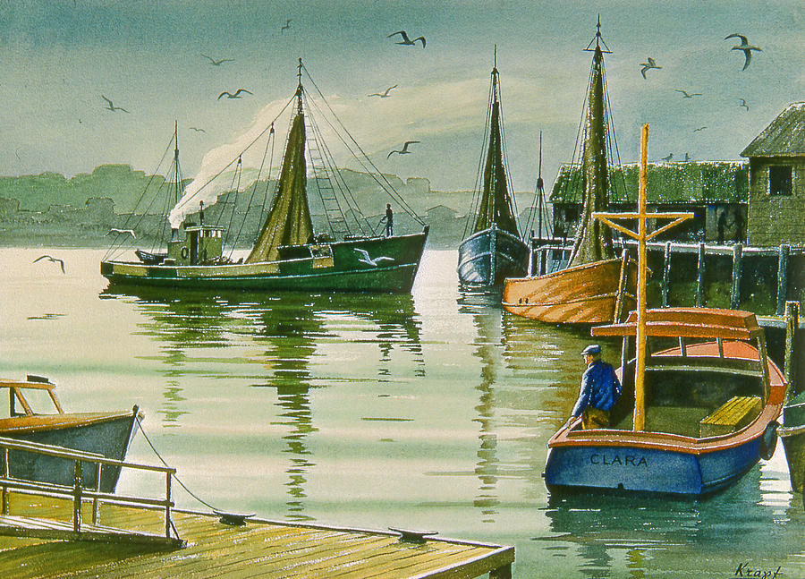 Maine Harbor Painting