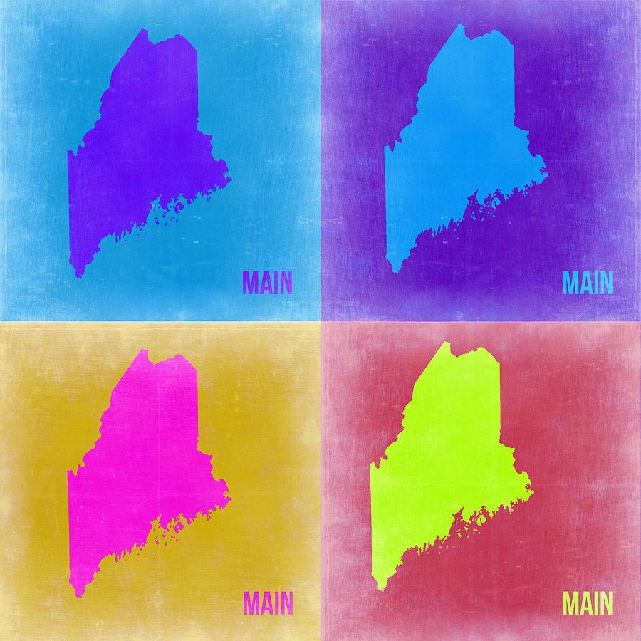 Maine Map Painting - Maine Pop Art Map 2 by Naxart Studio