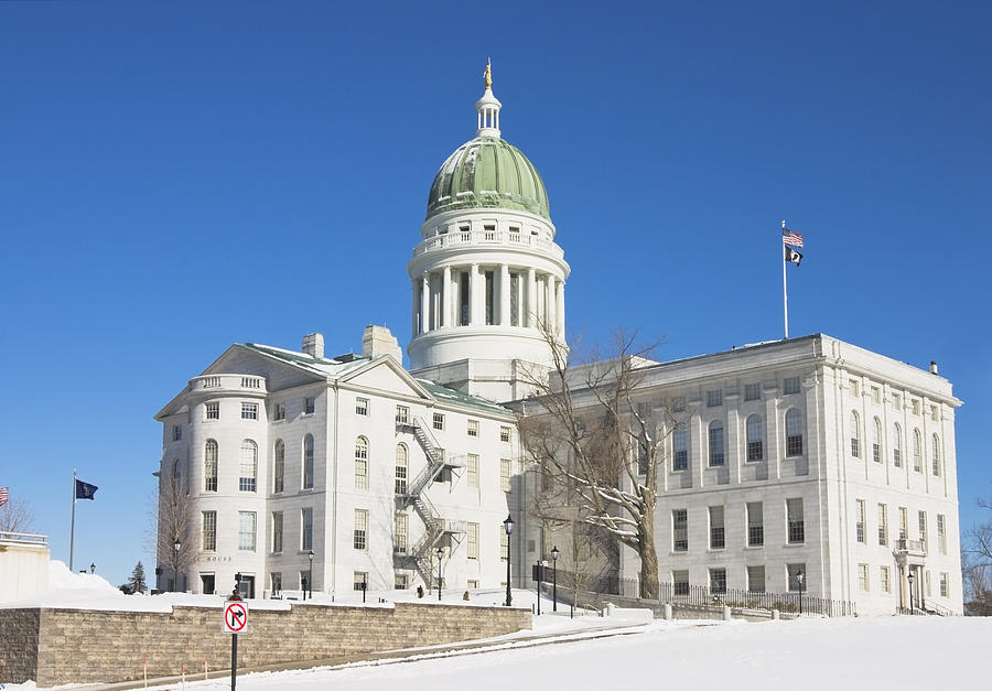 Maine State Capitol Building In Winter Augusta Photograph