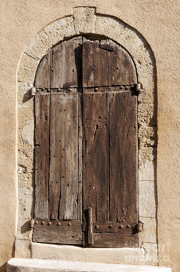 Lourmarin France Wooden Door Wood Doors Metal Hinge Hinges Doorway Doorways City Cities Cityscape Cityscapes Step Steps Provence Architecture Photograph - Maison by Bob Phillips