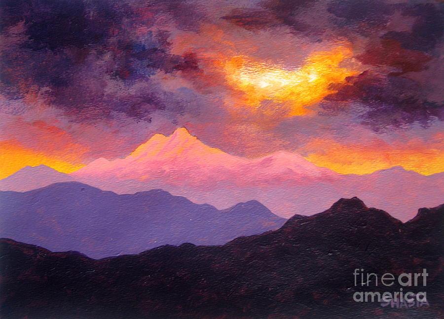 Serenity Scenes Landscapes Landscape Nature Pacific Northwest Cascade Mountains Sunset Sunrise Pink Lavender Purple Shasta Eone Disney Artist Impressionism Acrylic Realism  Painting - Majestic Ending by Shasta Eone