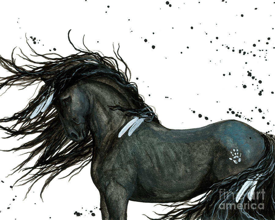 Majestic Friesian Horse 112 Painting
