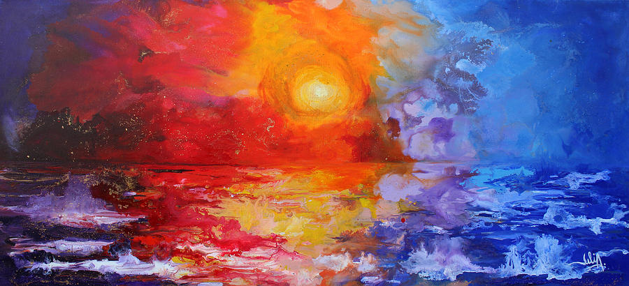 Landscape Painting - Majestic Sunset by Julia Apostolova