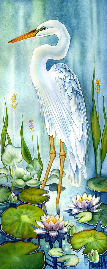 Majestic white heron painting for White heron paint
