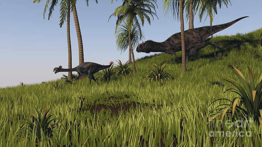 Majungasaurus Chasing A Gigantoraptor Digital Art