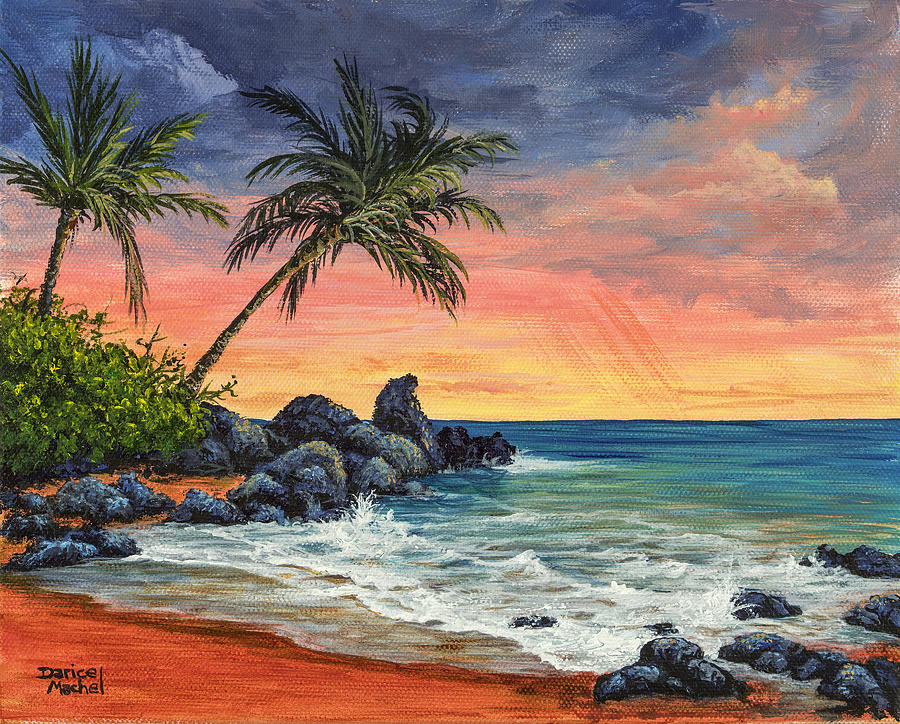makena beach sunset painting by darice machel mcguire
