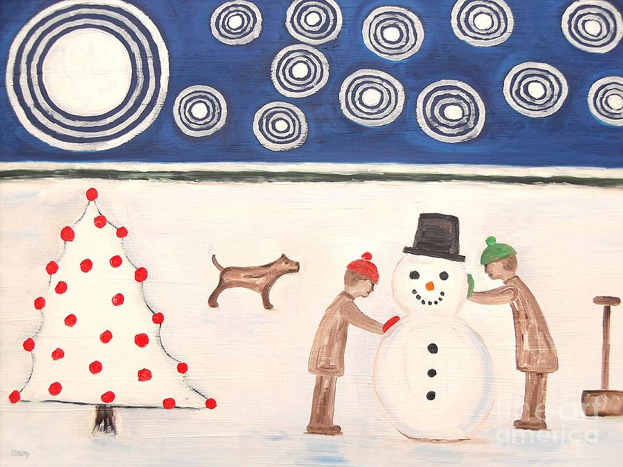 Snowman Painting - Making A Snowman At Christmas by Patrick J Murphy