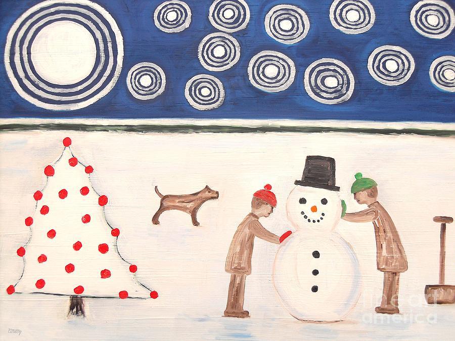 Making A Snowman At Christmas Painting
