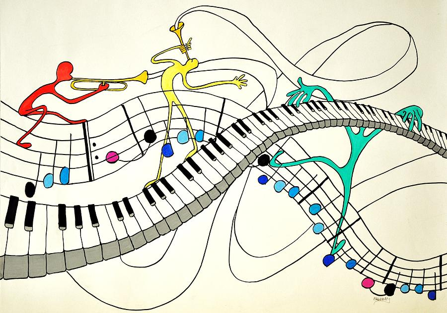 Making Music Drawing  - Making Music Fine Art Print