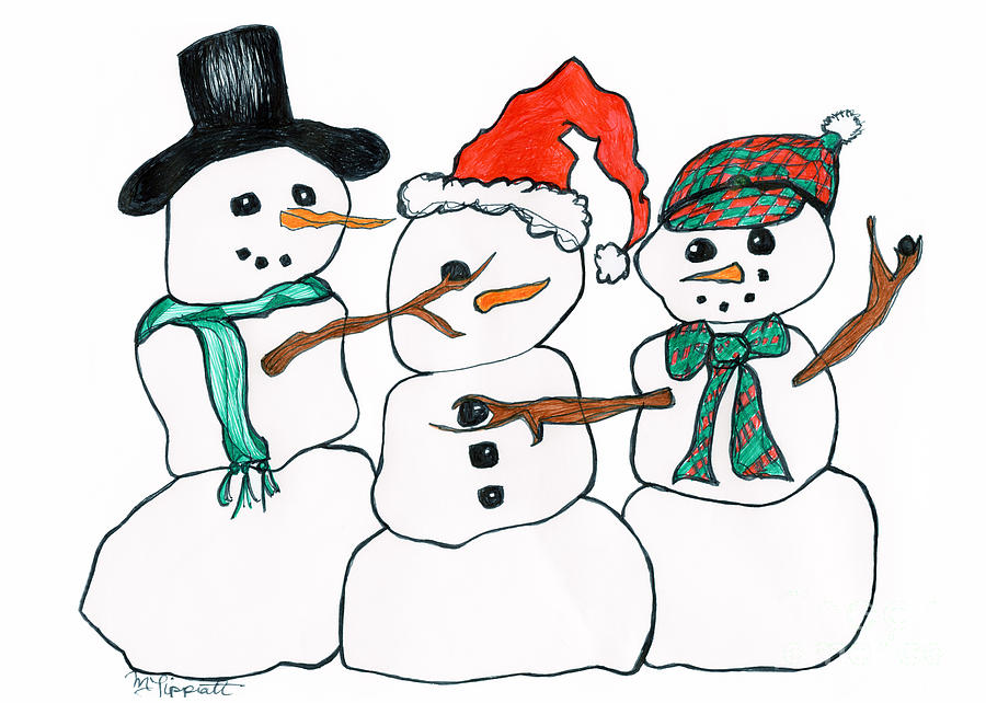 Making Snowman Santa Drawing  - Making Snowman Santa Fine Art Print