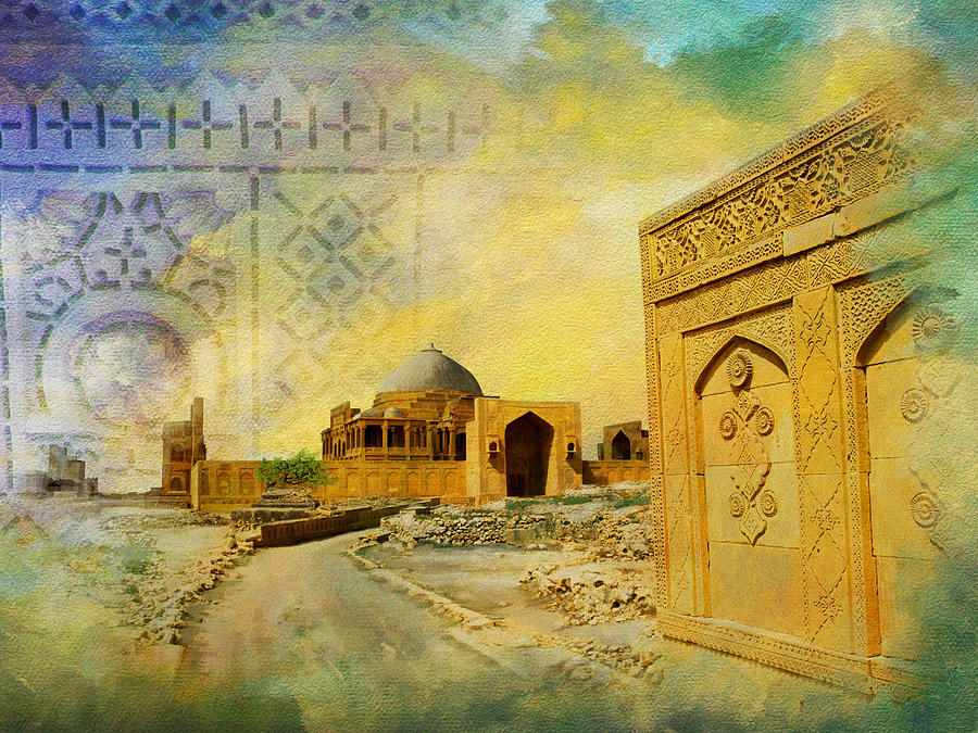 Pakistan Painting - Makli Hill Top by Catf