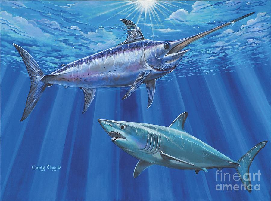 Swordfish Painting - Mako Sword Off0024 by Carey Chen