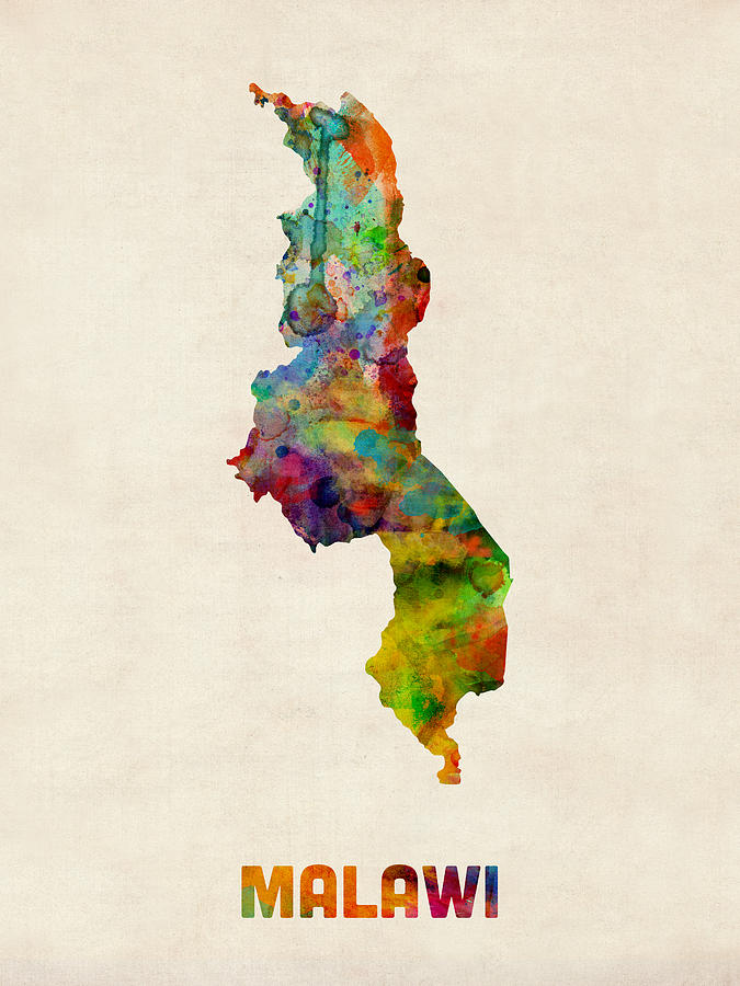 Malawi Watercolor Map Digital Art